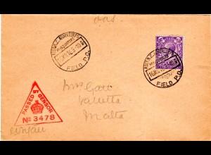 Ägypten 1916, Austral. u. Neuseeland Corps FPO, Brief m. Malta Zensur No. 3478