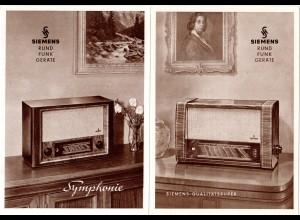 Rundfunk, 2 alte Siemens Radio Werbung Reklame Karten.