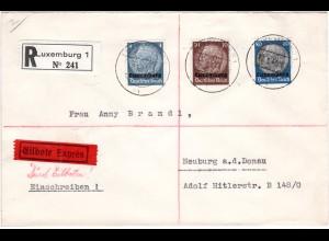 Luxemburg 1941, 4+10+80 Pf. portorichtig auf Reko Express Brief m. Ankunftstpl.
