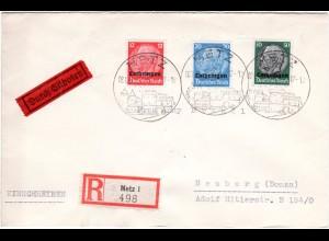 Lothringen 1941, 12+20+50 Pf. portorichtig auf Eilboten Reko Brief v. Metz