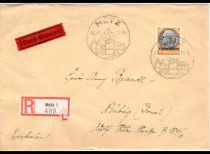 Lothringen 1941, 100 Pf. auf Eilboten Express Brief v. Metz (Kat. 120 €).