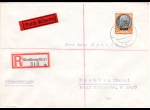 Elsass 1941, 100 Pf. auf Eilboten Express Brief v. Straßburg (Kat. 120 €).
