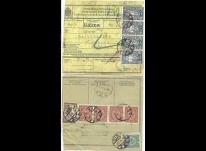 1919, Österreich Jugoslawien Mischfrankatur auf Begleitschein v. Sinj. #2812