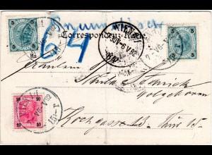 Österreich 1902, 5+5+10 H. auf Rohrpost Karte v. Wien.