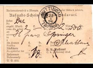 Österreich 1896, Böhmen-K2 WITTINGAU klar auf Postschein