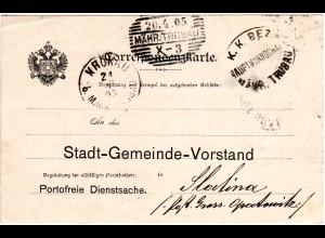 Österreich 1905, Mähren-Stpl. TRÜBAU u. KRÖNAU auf Portofreier Dienstsache
