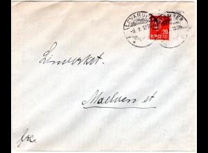 Norwegen 1936, 20 öre auf Brief m. aptiertem LEVANGER TUR Stempel