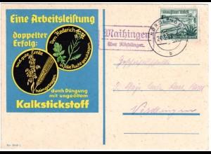 DR 1938, 6 Pf. WHW auf Reklame Karte m.Landpoststpl. MAIHINGEN über Nördlingen