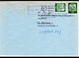 BRD 1963, Landpost Stpl. 8861 MUNNINGEN auf Brief mv.Nördlingen m. 2x10 Pf.