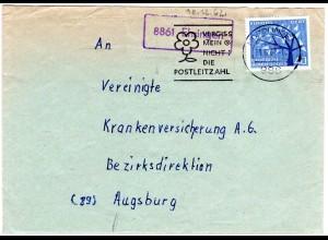 BRD 1962, Landpost Stpl. 8861 EHRINGEN auf Brief v. Nördlingen m. 40 Pf. Europa