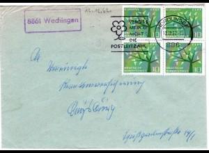 BRD 1962, Landpost Stpl. 8861 WECHINGEN auf Brief v. Nördlingen m. 4er-Block