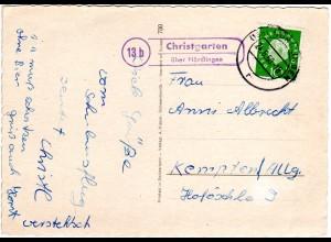BRD 1960, Landpost Stpl. 13b CHRISTGARTEN über Nördlingen auf Karte m. 10 Pf.