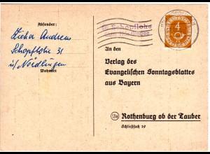 BRD 1954, L2-Landpost Stpl. 13b SCHOPFLOHE über Nördlingen auf Karte m. 4 Pf.