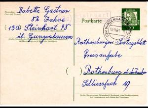 BRD 1961, Landpost Stpl. 13a STEINHART über Gunzenhausen auf 10 Pf. Ganzsache
