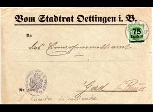 DR 1923, 75T./1000 Mk. auf Stadtrat Vordruck Brief v. Öttingen