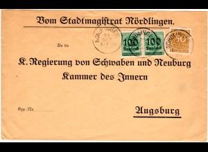 DR 1923, 50T.+Paar 100T./400 Mk. auf Stadtmagistrat Vordruck Brief v. Nördlingen