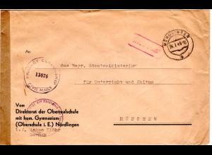 1948, Gebühr bezahlt auf Oberrealschule Vordruck Brief v. Nördlingen m.Zensur