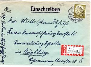 BRD 1958, 70 Pf. auf Einschreiben Brief m. R-Zettel HAINSFARTH üb. Oettingen