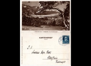 Bayern 1920, 20 Pf. auf Kartenbrief m. Abb. Partenkirchen u. Zugspitze