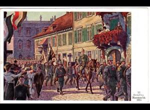 Bayern 1916, 3x2 1/2 Pf. auf Künstler (HEMPFING) Farb-AK Ausmarsch 1914
