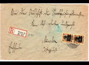 Bayern 1919, MeF Paar 25 Pf. auf portorichtigem Orts-Einschreiben Brief