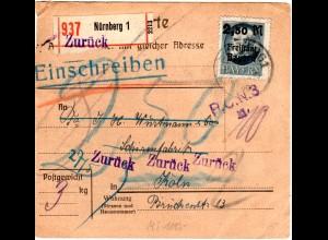 Bayern 1920, EF 2,50/2 Mk. auf Einschreiben Retour Paketkarte Nürnberg - Köln