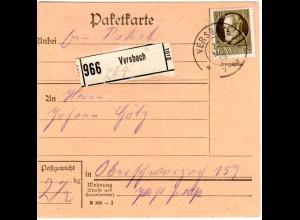 Bayern 1919, EF 40 Pf. auf Paketkarte v. VERSBACH n. Oberschwarzach