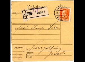 Bayern 1918, EF 30 Pf. auf Paketkarte v. LANDSHUT n. Dingolfing