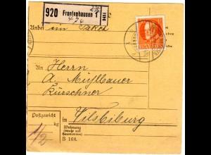 Bayern 1917, EF 30 Pf. auf Paketkarte v. FRONTENHAUSEN n. Vilsbiburg