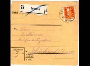 Bayern 1916, EF 30 Pf. auf Paketkarte v. TETTENWEIS n. Simbach