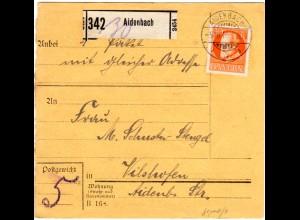 Bayern 1916, EF 30 Pf. Friedensdruck auf Paketkarte v. AIDENBACH. Geprüft