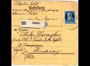 Bayern 1918, 20 Pf. auf Soldaten Paketkarte v. RADLDORF n. Freising