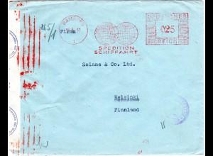 DR 1941, 25 Pf. Absender Freistempel auf Zensur Brief v. Hamburg n. Finnland