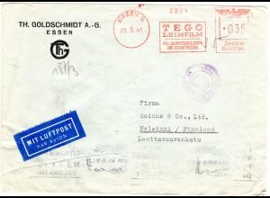 DR 1941, 35 Pf. Absender Freistempel auf Zensur Brief v. ESSEN n. Finnland