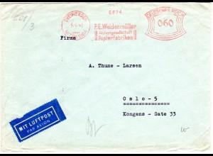 DR 1940, 60 Pf. Absender Freistempel auf Zensur Brief v. DREIWERDEN n. Norwegen