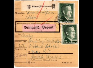 DR 1943, 5+60 Pf.+2x1 Mk. auf Ostmark Paketkarte v. VELDEN (Wörthersee)