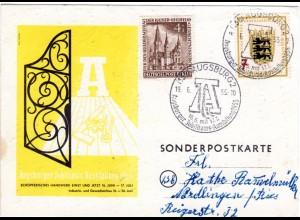 Augsburg, Jubiläums-Ausstellung 1955, Farb-Karte m. 2 Marken u. entspr. Stpl.
