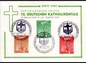 Berlin 1952, 75. dt. Katholikentag, Ereigniskarte m. 3 Marken u. Sonderstempel