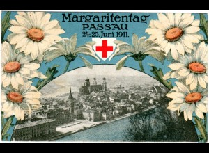 Margaritentag Passau, attraktive 1911 gebr. Farb-AK.