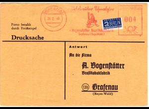 1949, Grafenau 4 Pf. Firmenfreistpl. Perlesreuter Schmalzler Brasil Tabak Fabrik