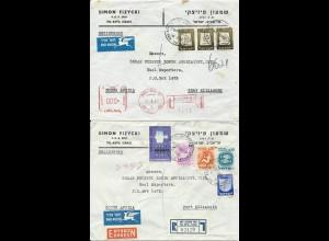 Israel, 2 Einschreiben Luftpost Brief v. Tel Aviv n. Südafrika. 1x Express #1223