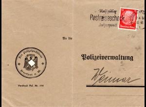 DR 1936, 12 Pf. m. POL Lochung auf Brief v. Frankfurt m. Polizeipräsident Siegel
