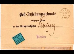 DR 1889, Zettel Frei lt. Avers No.8. Fürstl. Landes... auf Zustellurk. v. EILSEN