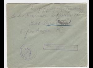 DR 1917, KGF POW Zensur Brief v. Lamsdorf Schlesien Polen n. Dänemark. #2143