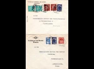 Portugal 1936, 2 Konsulat Biefe v. Porto/Lisboa i.d. Schweiz