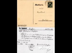 DR 1925, 5 Pf. auf Gemeinde Karte v. POIGHAM m. Bürgermeister Unterschrift