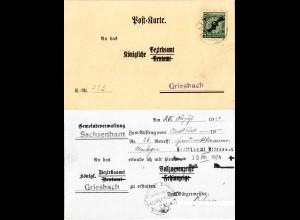 DR 1924, 5 Pf. auf Gemeinde Karte v. SACHSENHAM m. Bürgermeister Unterschrift