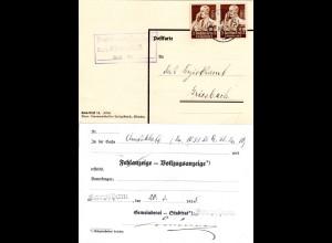 DR 1935, 2x3 Pf. auf Gemeinde Karte v. KARPFHAM m. Gemeinderats Unterschrift