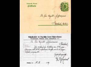 Bayern 1909, 5 Pf. Ganzsache m. Zudruck d. Bay. Landes Fischerei Vereins München