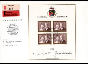 Liechtenstein 614, 4x10 Fr., kpl. Kleinbogen auf Einschreiben Eilboten Brief